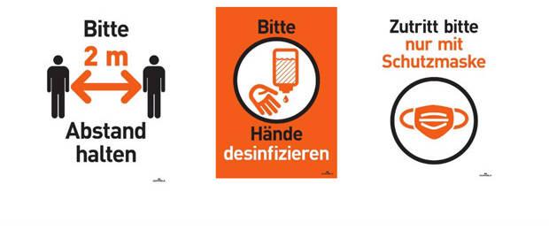 Durable bietet kostenlose Schilder-Vorlagen für Hygiene- und Abstandsregeln. (Bild: Durable)